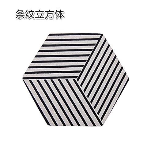 Home und verschiedene geometrische verdickte Cork Topf einfache Tabelle - heiße Heizmatten coaster Mat rutschfeste Schüssel Schüssel matten Gestreifte Cube