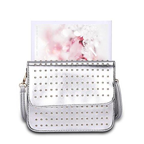 Faysting EU borsa a tracolla donna vari colori scelti PU pelle rivetti figura buon regalo san valentino argento