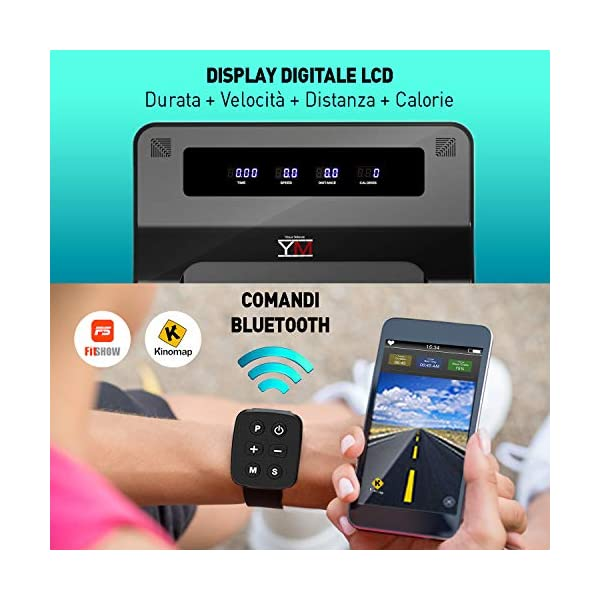 YM Tapis Roulant Elettrico Walking Pad Scrivania App KINOMAP e FITSHOW, Orologio Telecomando Watch Controller… 5 spesavip