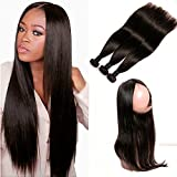 DAIMER 360 Frontal Lace Closure Wig with 3 Bundles Brazilian Hair Straight echthaar tressen Virgin Remy Human Hair Haarverlängerung Natural Color 16 18 20 +14 Inches
