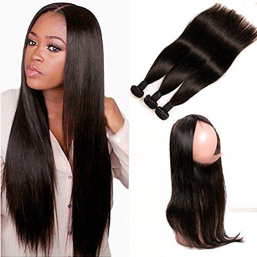 Daimer Closure 360 Tissage Bresilien Straight Hair Weave 3 Paquets avec Lace Frontal Cheveux Humains Brésilien en lot pas cher Naturel 16 18 20 +14 inches