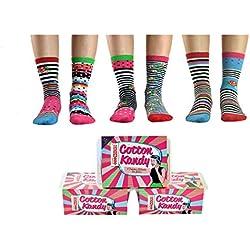 United Oddsocks- Set de 6 de algodón calcetines desparejados para las mujeres