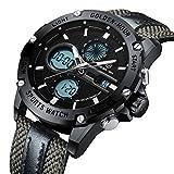 Herrenuhr Klassisch Multifunktion Analog Sport Digital Wasserdicht Quarz Uhren für Männer Fashion Militär LED Wasserdicht Casual Armbanduhr – Schwarz