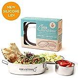 ECOlunchbox Oval, 2-teilige Brotdose aus Edelstahl mit separater, auslaufsicherer Runddose  Lunchbox  Bento Box