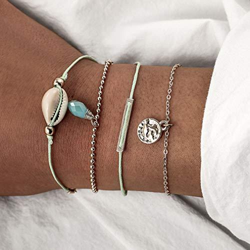 WEIHEEE Kreative Tropfen Anhänger Armband Mode Layered Armband Einfache Shell Ball Armband für Weibliche Accessoires