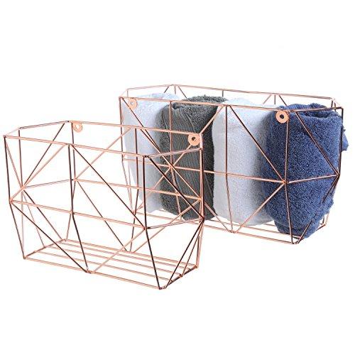 MyGift Geometrische Metall Draht wandhängende Obstkörben, Home Lagerkästen, Set von 2 Modern Gold (Bins Storage Draht-rack)