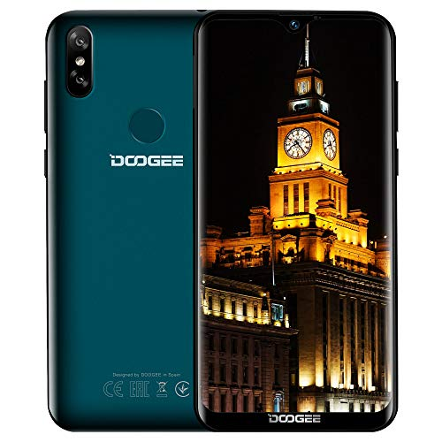 Günstige Handy ohne Vertrag 4G, DOOGEE Y8 2019 Billige Senioren Smartphone 6,1 Zoll Wassertropfen Android 9,0 Mobile 3+16GB Telephone MT6739 Dual SIM Dual Kameras Gesichtserkennung Fingerabdruck, grün