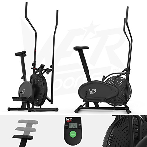 We R Sports 2-in-1 Elliptical Cross Trainer and Exercise Bike Fitness Cardio Workout with Seat -...