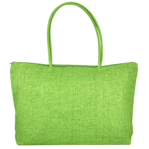 TOOGOO(R) Feminin Paille Tricot Plage Sac a Main d'Ete Shopping Voyage Zippe Sac -vert clair