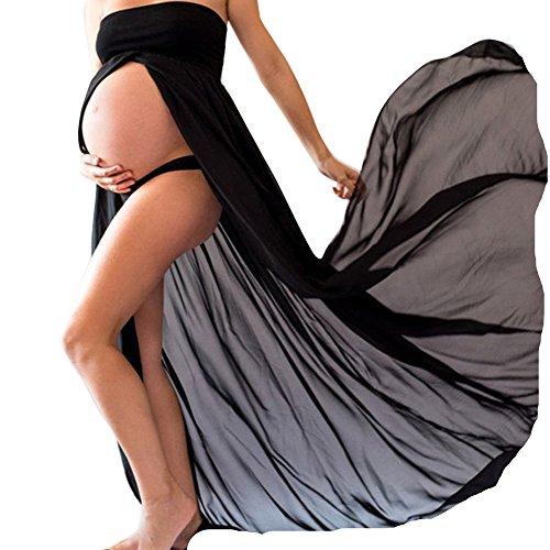 ESAILQ Femme Enceinte Robe en Mousseline Sexy Grossesse Femme Bandeau Robe pour Maternité Photo Shoot (Noir, M)