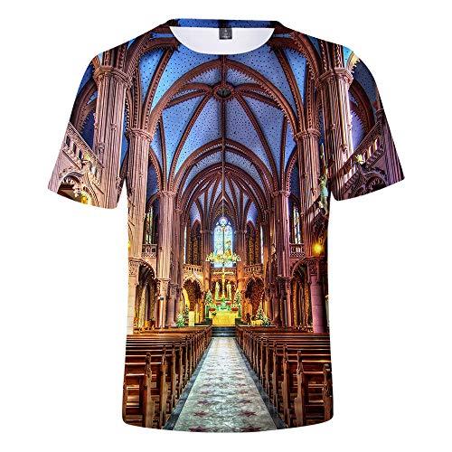 SYS-KCD Herren T-Shirt, Damen T-Shirt, Notre Dame Sommer 3D Kurzarm für Jungen, Mädchen und Jugendliche,H,XXXXL