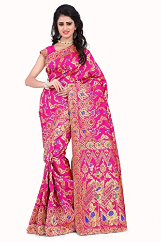 Sarees (Women\'s Pink Banarasi Silk Saree with Blouse Piece Banarasi Work Saree)