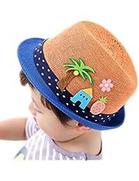 Mackur Enfants Bébé de paille Chapeau de soleil été Panamas Chapeau Garçon  ou Fille Anti- 5276da6122b