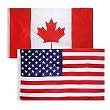 MagiDeal 2 Stück 150X90cm Große Staat Flagge Fahne, Kanada + USA