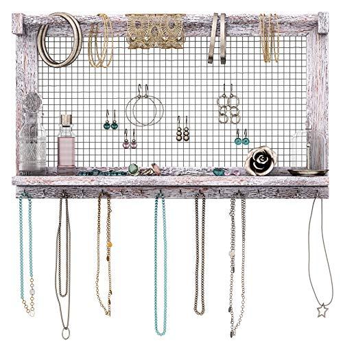 Comfify Boho-Chic Organizer für Schmuck - Wandhalterung mit abnehmbarer Armbandstange, einem Regal und 16 Haken - Perfekte Aufbewahrung für Ohrringe, Halsketten und Armbänder - Schmuckdisplay