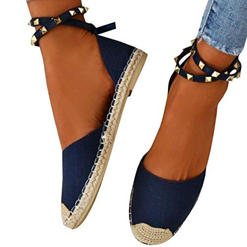Minetom Sandali Donna Estivo Eleganti Piatto Donna Espadrillas Caviglia con Spalline Sandali Bassi Bocca di Pesce Sandali A Blu EU 41