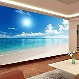 Wandgemälde Benutzerdefinierte Mural Wallpaper 3D Blauer Himmel Und Wolken Strand Wohnzimmer Schlafzimmer Wandverkleidung Tapete,300Cm(H)×500Cm(W)