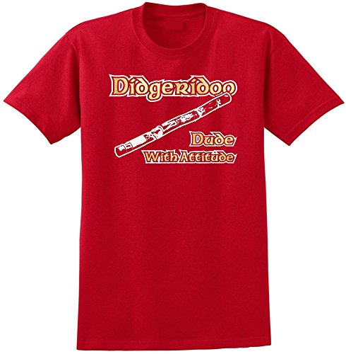 Didgeridoo Dude Attitude - Red Rot T Shirt Größe 87cm 36in Small MusicaliTee