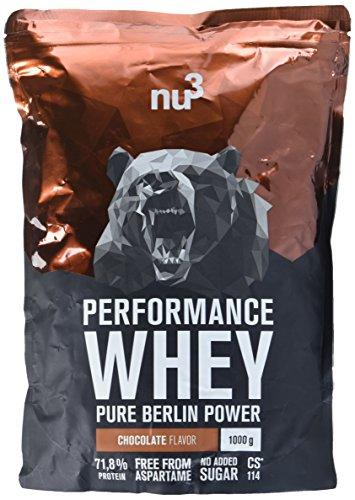 nu3 Performance Whey Protein   Chocolate Blend   1kg Proteinpulver   Voller Schokoladen-Geschmack   Eiweißpulver mit guter Löslichkeit bei hohem Proteingehalt