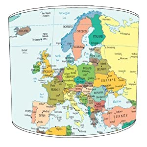 Premier Lampshades–Techo Mapa de Europa Drum Pantalla