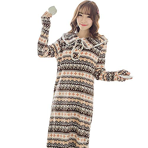 A~LICE&SY& Pajamas Flannel Bathrobe Herbst und Winter Lovely Thickened Ladies Lang-Sleeved Pajamas Home Service,XL Sleeved Romper Set