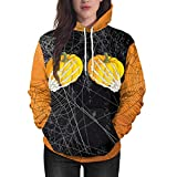 UFACE Kürbis Ghost Claw Kapuzen Halloween Tasche Sweatshirt Kürbis Party Langarm Pullover Bluse Hoodie Sweatshirt(Gelb,M)