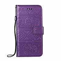 Galaxy Note 8 Wallet Case, ESSTORE-EU Retro Elephant PU Leather Protective Covers with Card Slot Holder Wallet Case for Samsung Galaxy Note 8, Purple