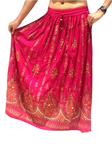 Tribal Indien Von Kostüm - Rosa Damen Indian Boho Hippie Zigeuner Sequin Sommer Sommerkleid Maxi Rock UK 8-14