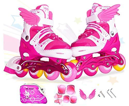 Sumeber Inline Skates Kinder Inliners Roller Skates Roller Blades 4 Räder Flash Kinder Inline Skates (Rosa, S(31-37))