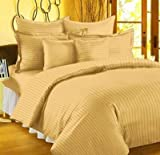#7: Trance Home Linen 100 % Cotton Premium 210Tc Satin Stripes King Double Fitted Bedsheet with 2 Pillow Covers - Golden Yellow