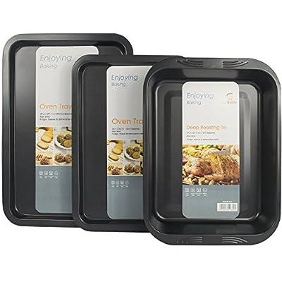 3 Piece Get Goods Enjoy Baking Non Stick Teflon Large Oven Baking Roasting Pan Dish Tin Trays Set by