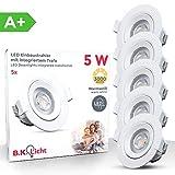 5x5W LED Focos empotrables giratorio Ø90mm, profundidad 38mm, blanco cálido 3000K 350lm, Downlight...