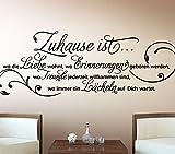 Wandora G027 Wandtattoo Wandaufkleber Wandsticker Zitat Zuhause ist wo die Liebe wohnt ... Familie Liebe Lächeln Blumenranke braun (BxH) 58 x 20 cm