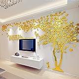 DIY 3D Riesiger Baum Paar Wandtattoos Wandaufkleber Kristall Acryl Malen Wanddeko Wandkunst (XL, Golden, Links)