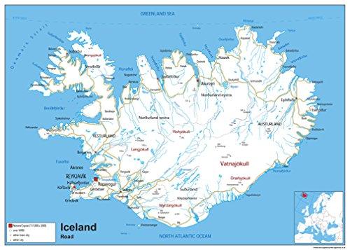 Straßenkarte von Island - Papier, laminiert [GA] A2 Size 42 x 59.4 cm -