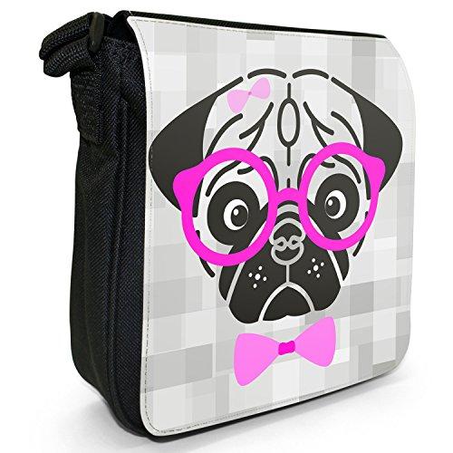 Hipster animali con fiocco, Occhiali e sacchetto di tela borsa a tracolla nero–taglia S Hipster Pug Wearing Hair Clip