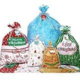 VEYLIN Lot de 30sacs d'emballage pour cadeaux de Noël avec étiquettes et rubans assortis