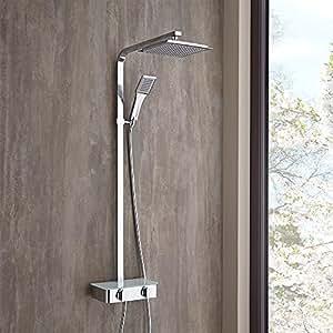 hudson reed colonne de douche thermostatique square pommeau pluie et douchette en abs. Black Bedroom Furniture Sets. Home Design Ideas
