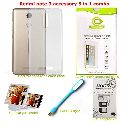 For Xiaomi Redmi note 3 combo of transperent soft case, cellwallPRO tempered glass with 3d enlarger screen,Sim adapter kit and USB light