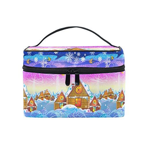 Emoya Make-up-Tasche, Weihnachtsdorf gemütliche Häuser, Schneeflocke, Kosmetik, Toiletry Aufbewahrungstasche für Frauen und Mädchen