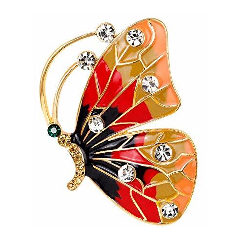 HIDOUYAL Orange Schmetterlinge Epoxy Broschen Pins Hochzeit Broschen Clip Pin für Frauen Kleid Schal