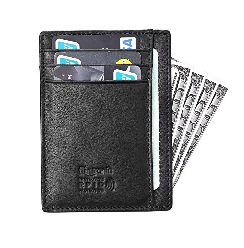 flintronic Portefeuille En Cuir, Etui RFID Blocage Porte Carte de Crédit, Zip Porte-monnaie