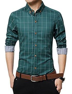 Uomo Gioventù Affari Casual Maniche Lunghe A Quadri Slim Fit Camicia Verde XXXL
