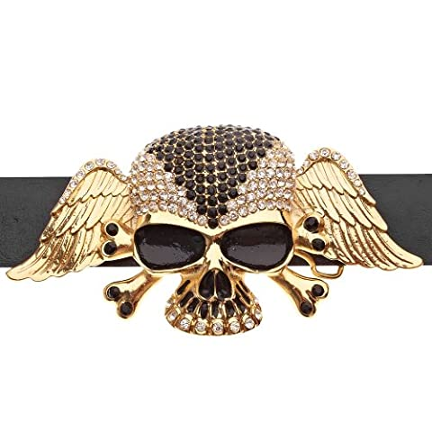 Iced Out Bling Hip Hop Skull Wings XXL Belt -