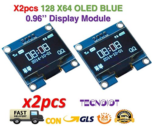 2pcs OLED 128X64 Display OLED LCD LED Display Module I2C IIC SPI Serial COLOR BLUE | 2pcs 2,4 cm SSD1306 I2C IIC SPI Serial 12864 - Pantalla LCD OLED para Adafruit Arduino Beaglebones Raspberry Pi