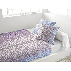 Soleil d'ocre Juego de sábanas de franela BOUQUET azul