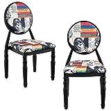 [en.CASA] Chaise rembourrée kit de 2 Noir Patchwork Chaise Design bariolé rétro Fauteuil