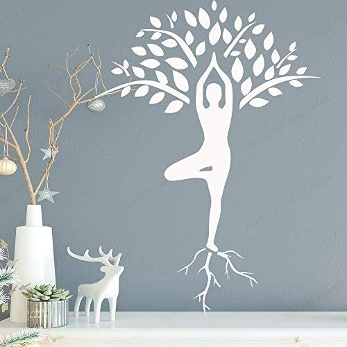 BailongXiao Mince Femme aérobie téléobjectif Pose Vinyle Mur Art Autocollant Arbre Motif Vivant décoration Sticker Mural Chambre Art Peinture Murale 45x63 cm