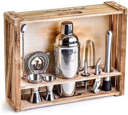 Mixology Barkeeper Kit: 11bar Werkzeug-Set mit rustikal Holz stehen-perfekte Home Bartending Kit und Cocktail Shaker Set für eine tolle Drink Mix Erfahrung-Exklusive Cocktail-Rezepten Bonus - Mix-cocktail-bar