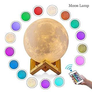 LED Mondlicht, ALED LIGHT 3D Printed 15cm Durchmesser Mond Nachtlicht Lampe Dimmbar 16 Farbe wählbar Fernbedienung USB Charging Mood Light für Schlafzimmer Cafe Bar Esszimmer